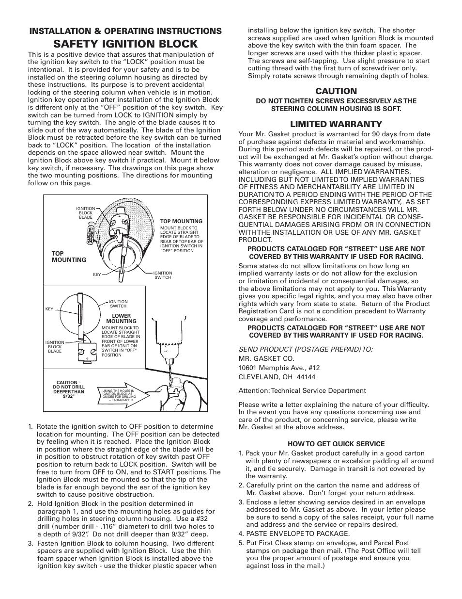 mr gasket 7668 instructions