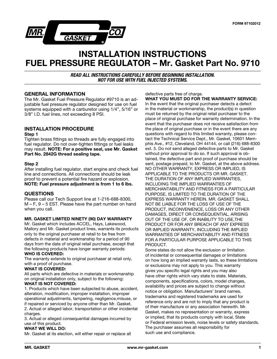Mr gasket 9710 fuel pressure regulator adjustable user manual mr gasket 9710 fuel pressure regulator adjustable user manual 2 pages publicscrutiny Image collections