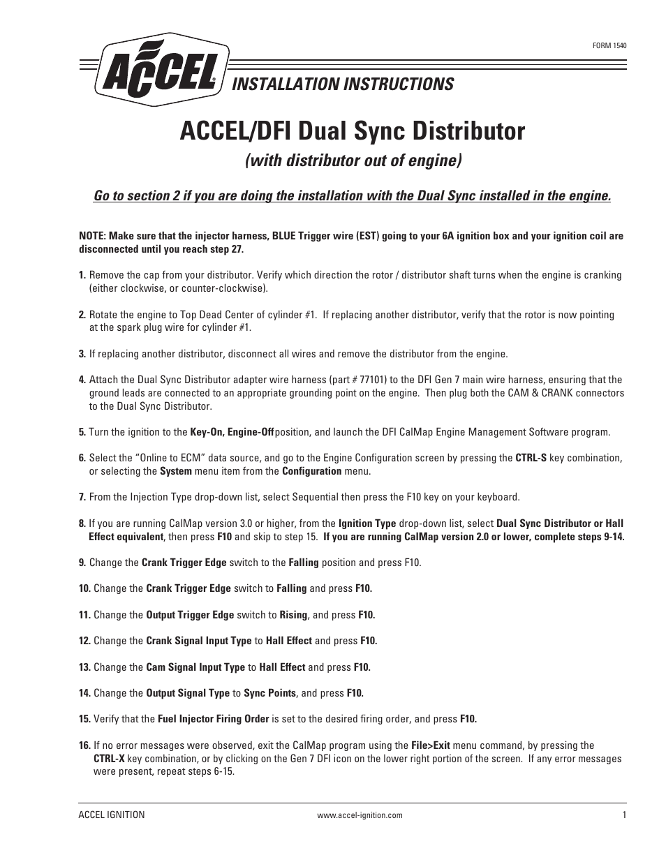 Accel Distributor Wiring Diagram 32 Images Points Eliminator Mallory Ignition Dfi Dual Sync 77100 Page1