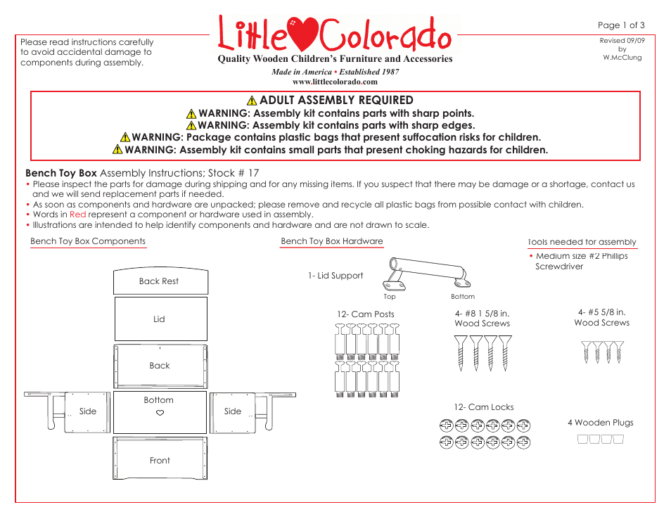 Little Colorado Bench Toy Box 17 User Manual | 3 pages