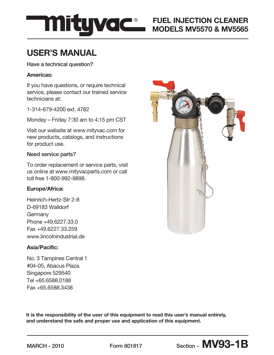 Mityvac MV5565 FUEL INJECTION CLEANER User Manual | 44 pages | Also for:  MV5570 FUEL INJECTION CLEANER