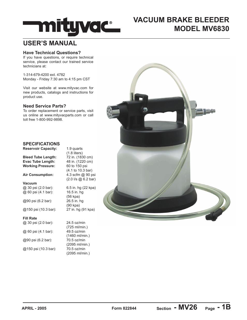 Mityvac Mv6830 Vacuum Brake Bleeder User Manual 24 Pages