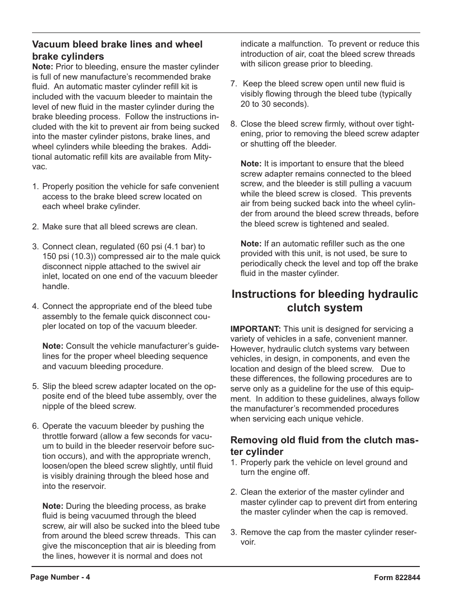 Instructions for bleeding hydraulic clutch system   Mityvac
