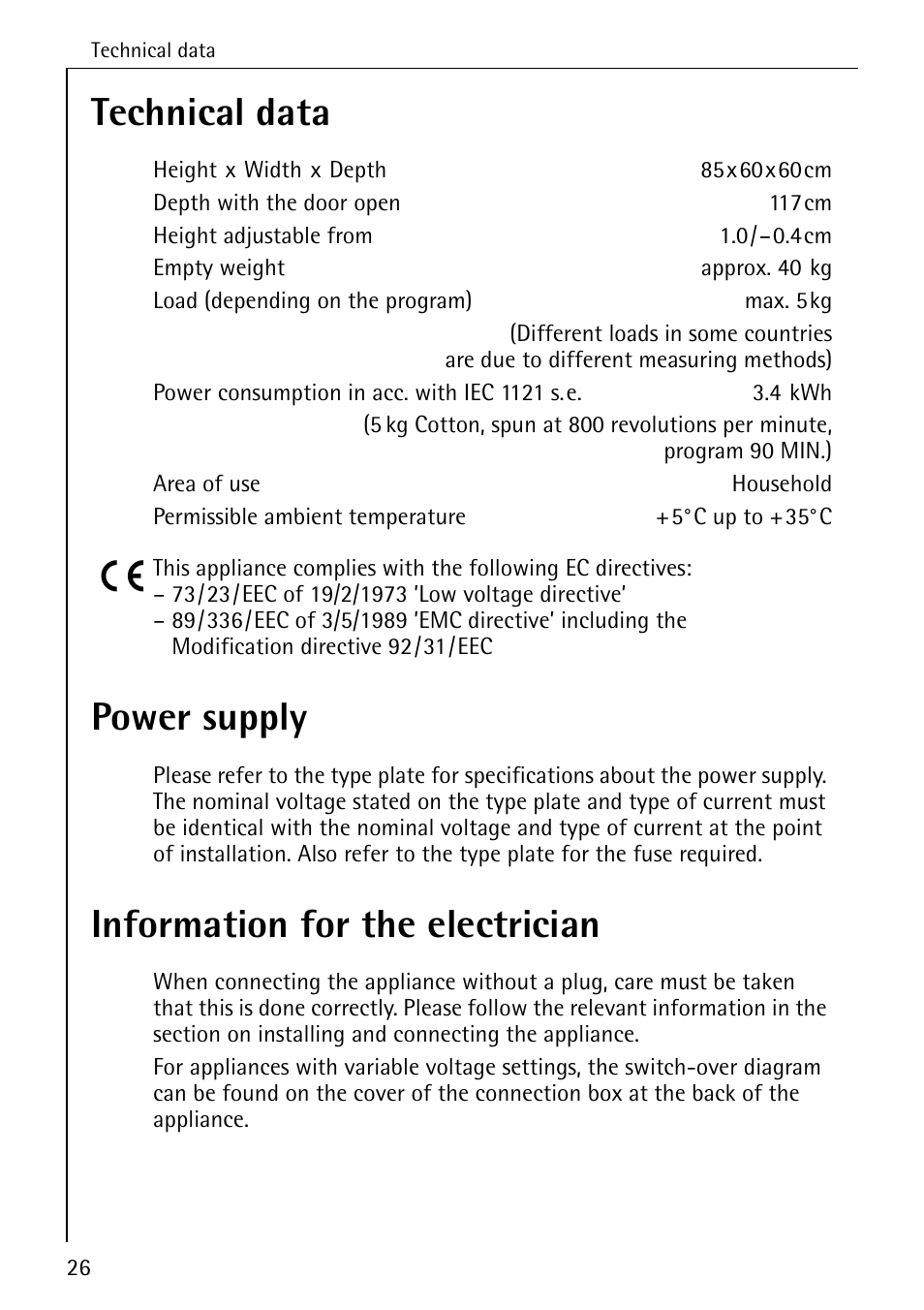 Technical Data Power Supply Information For The Electrician Aeg Variable Voltage And Current Lavatherm T30 User Manual Page 26 32