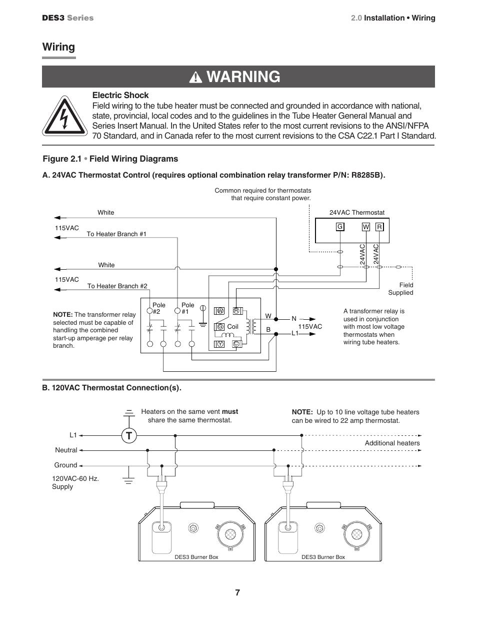 Tube Heaters Wiring Diagram Schematic Diagrams Radiant Heater Warning Figure 2 1 U2022 Field Detroit Water 240v