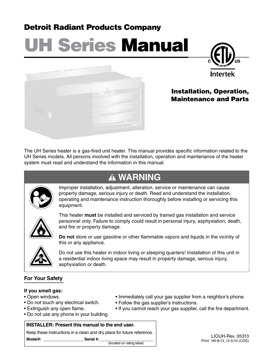 detroit radiant products company uh series user manual 56 pages rh manualsdir com Gutter Installation Guide Gutter Installation Guide
