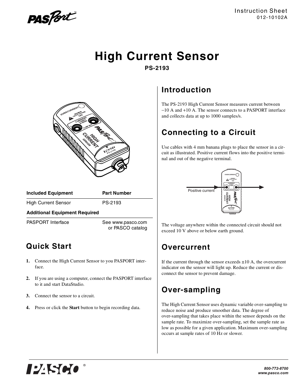 Pasco Ps 2193 High Current Sensor User Manual 2 Pages Currentsensorcircuitjpg