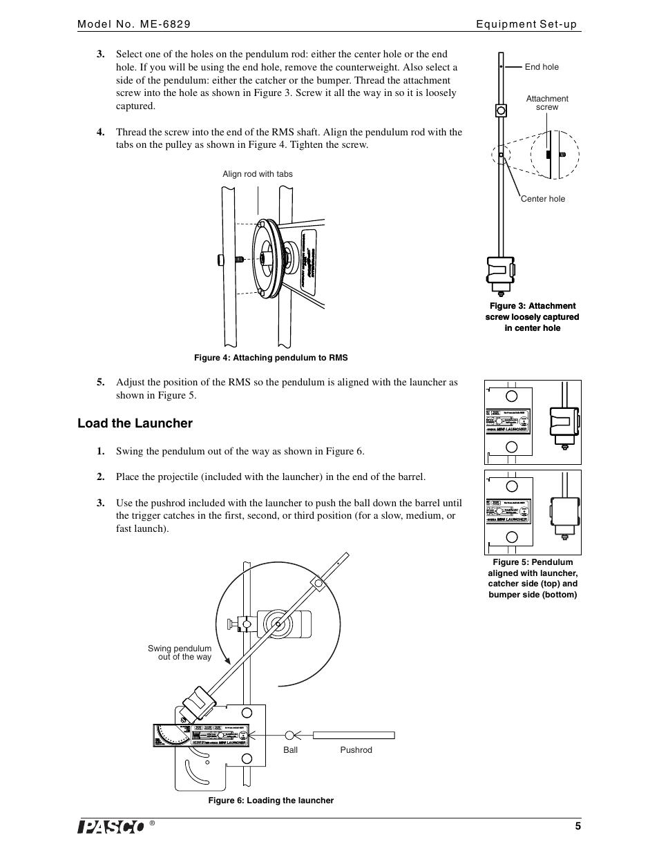 Load the launcher   PASCO ME-6829 Mini Launcher Ballistic