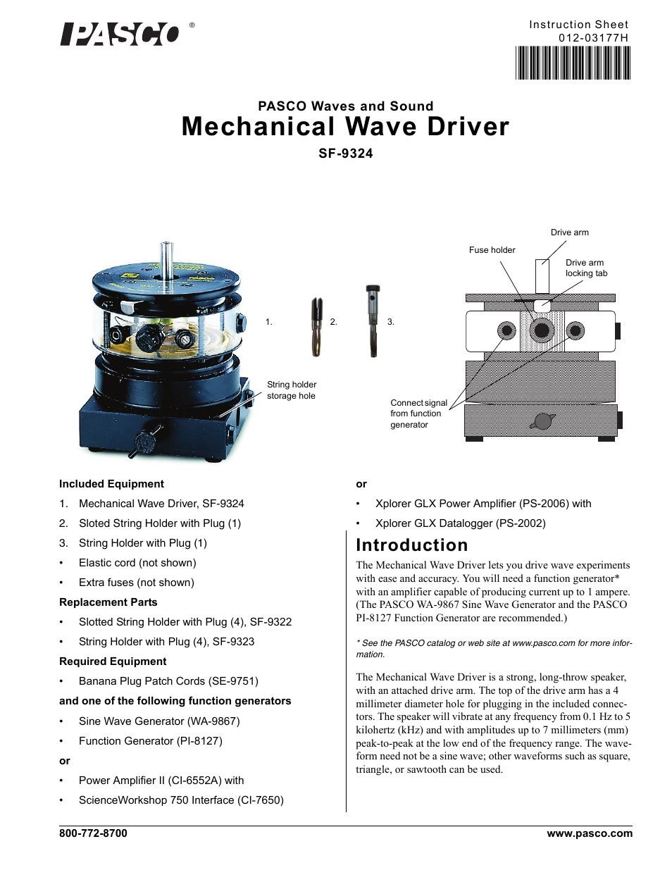 PASCO SF-9324 Mechanical Wave Driver User Manual | 4 pages