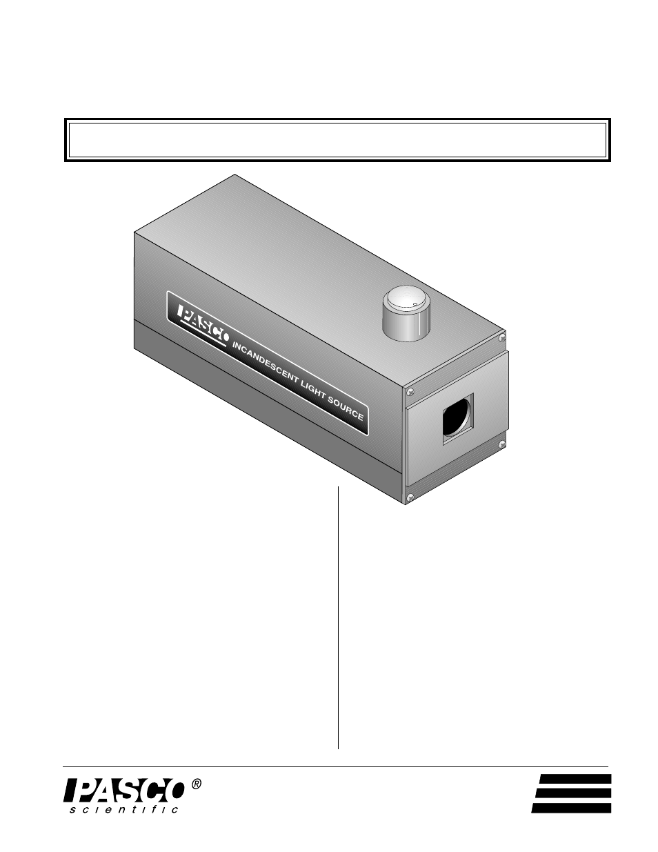 PASCO OS-9102C INCANDESCENT LIGHT SOURCE User Manual | 4 pages