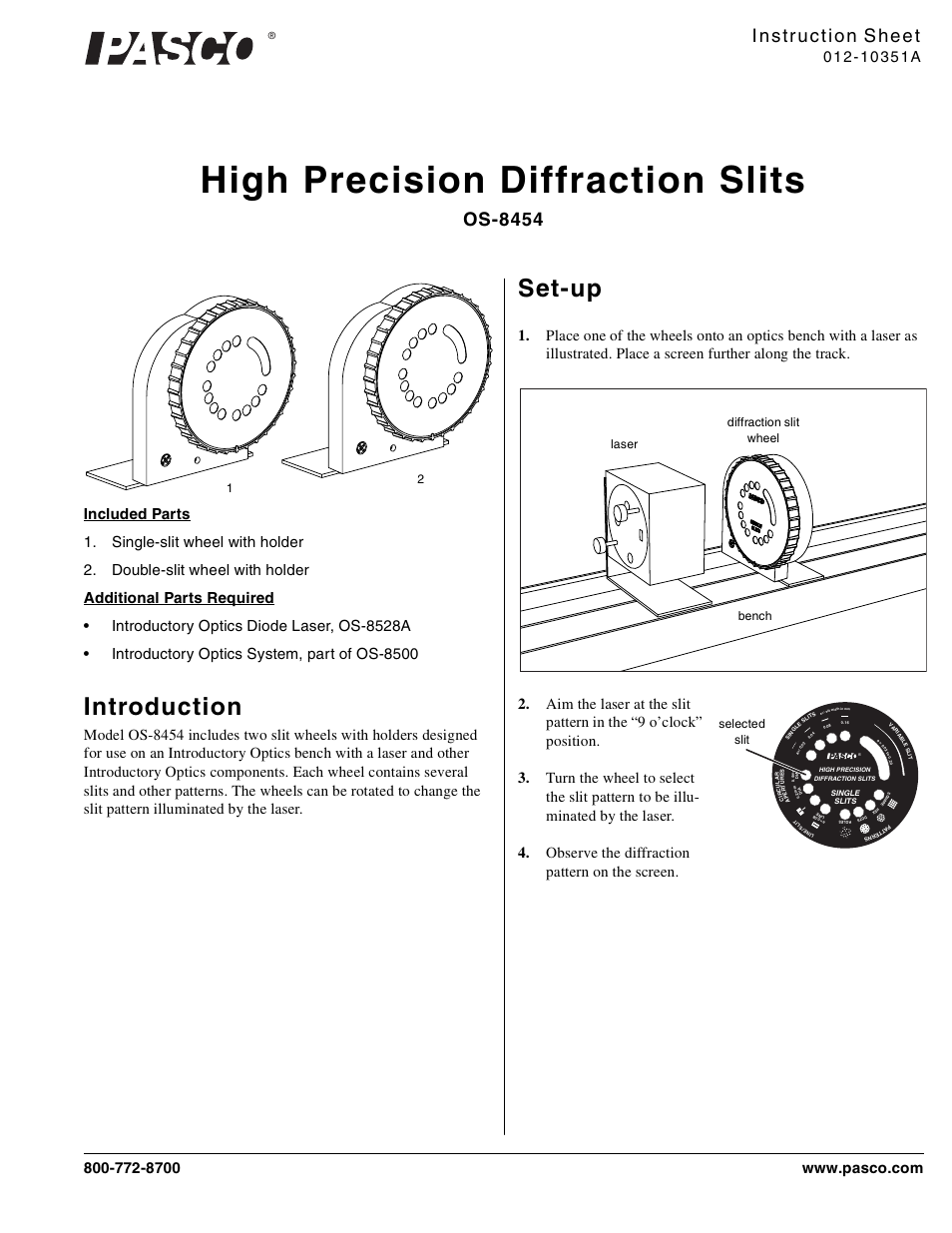 PASCO OS-8454 High Precision Diffraction Slits User Manual