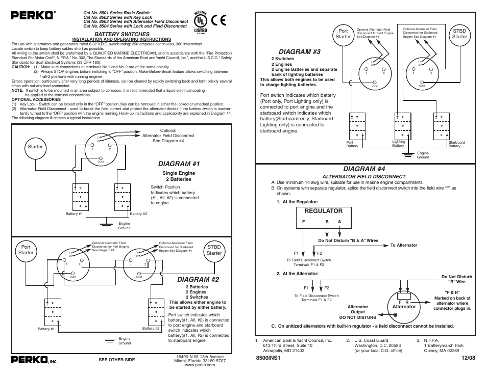 diagram of boat wiring perko 8502 user manual 1 page also for 8503  8504  8501  perko 8502 user manual 1 page also for 8503  8504  8501