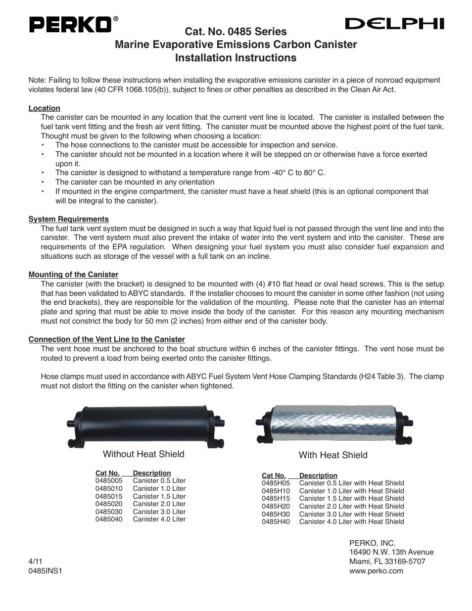 PERKO 0485 User Manual | 1 page