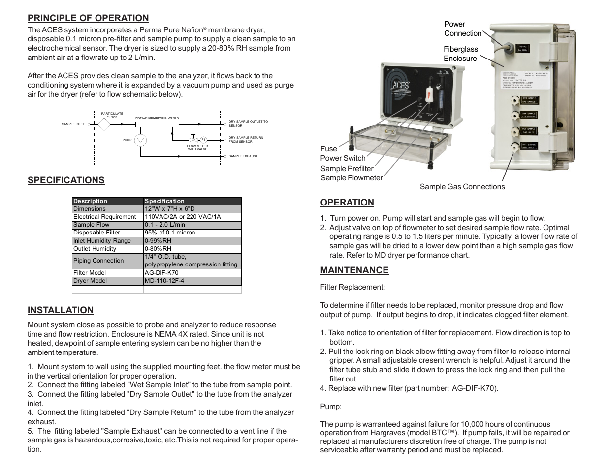 Perma Pure Aces Pump Version User Manual 2 Pages Electrical And Air Schematic Below