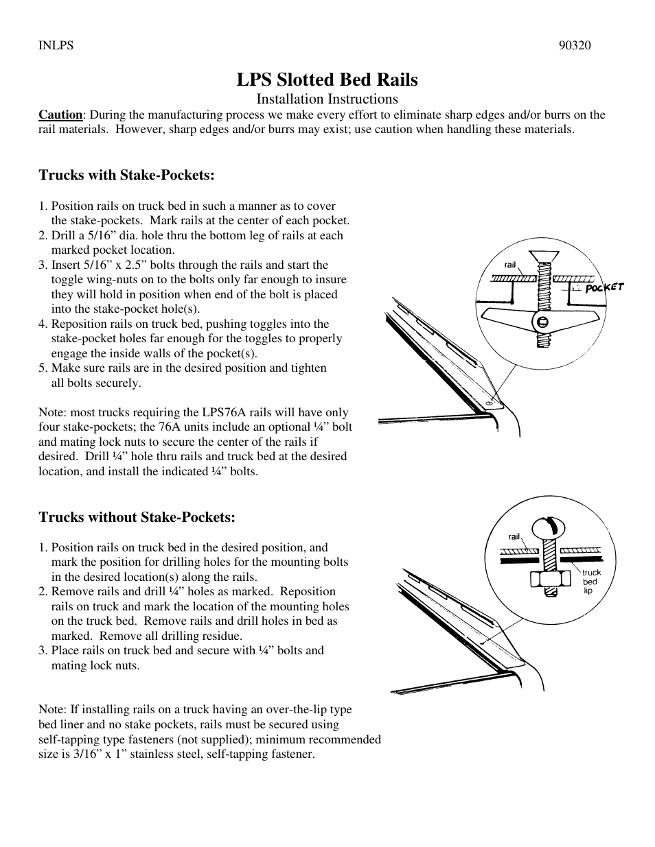 Perrycraft LPS Bed Rails User Manual | 1 page