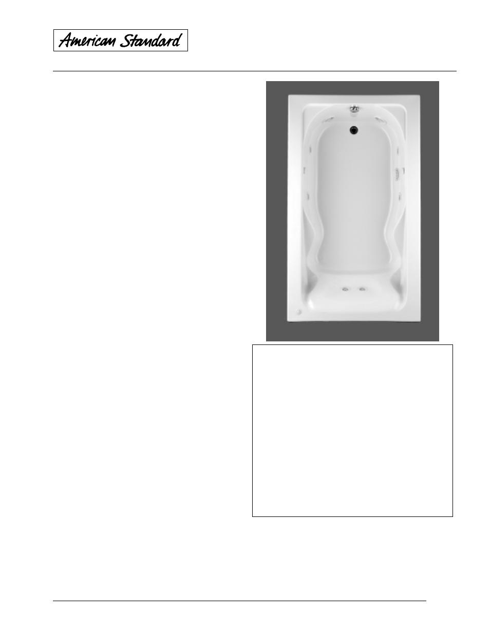 American Standard Cadet Whirlpool and Bathing Pool 2774.018WC User ...