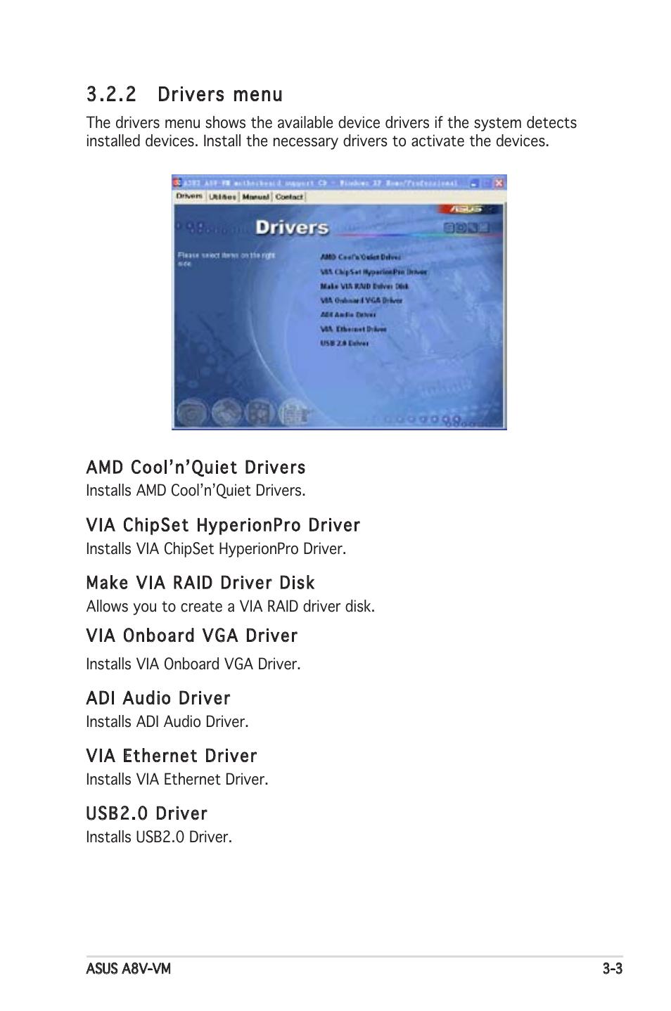 drivers menu | Asus A8V-VM User Manual | Page 79 / 82