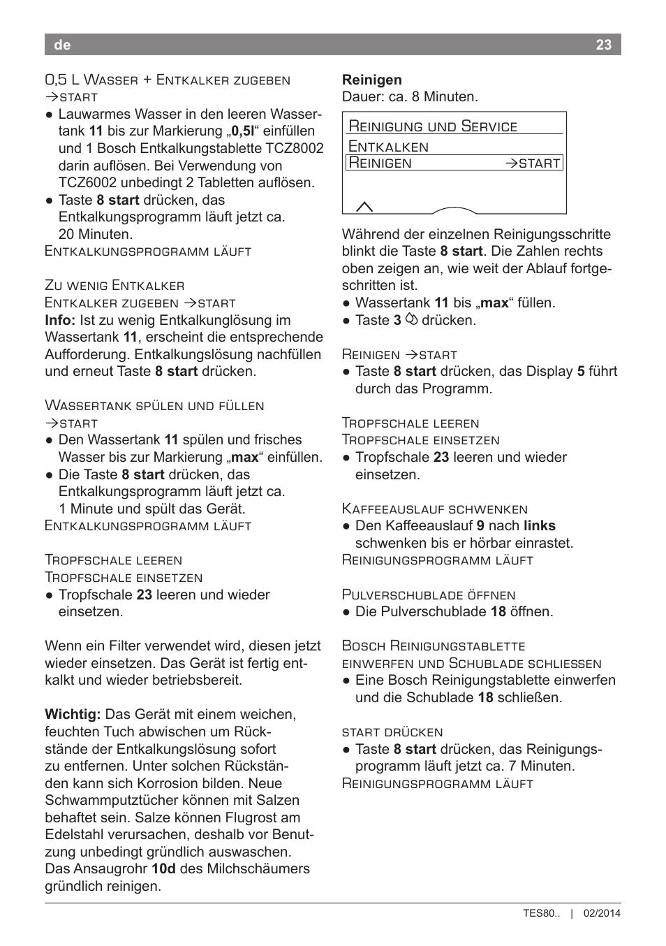 Reinigung Und Service Entkalken Reinigen Start Bosch Tes80359de