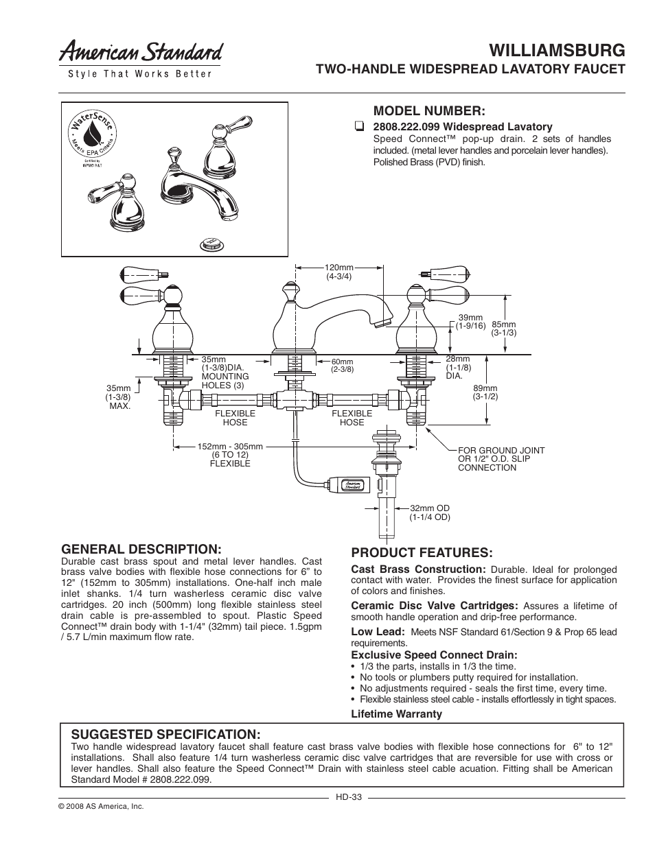 American Standard 2808 222 099 User Manual 2 Pages