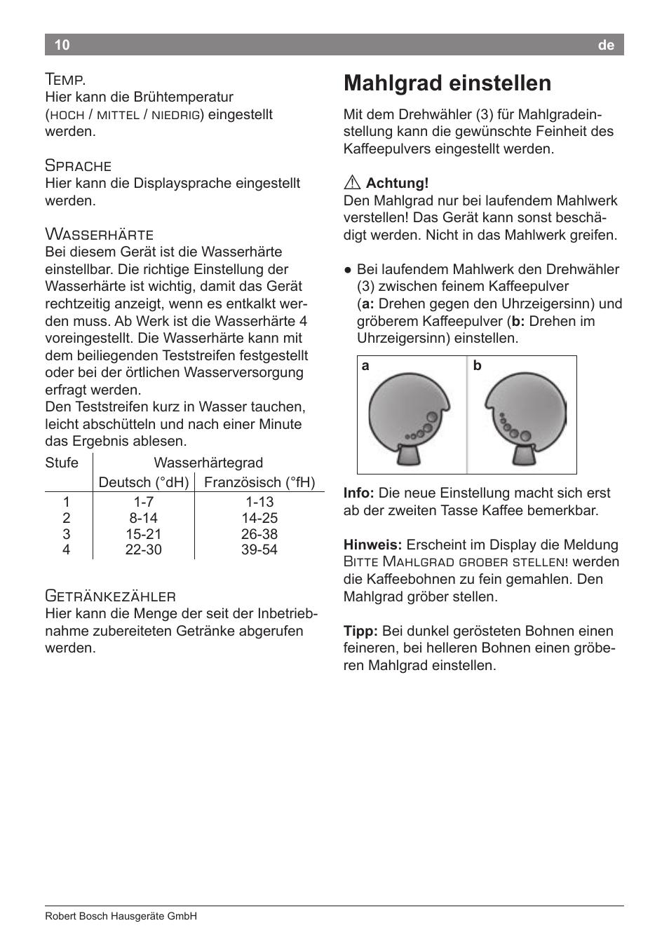 Mahlgrad einstellen, Temp, Sprache | Bosch TES50651DE VeroCafe ...