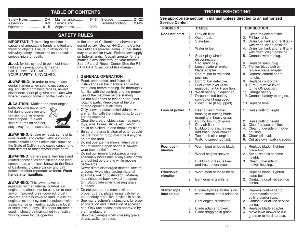 Poulan Pro Pr500n21sh Lawn Mower User Manual Page 2 12