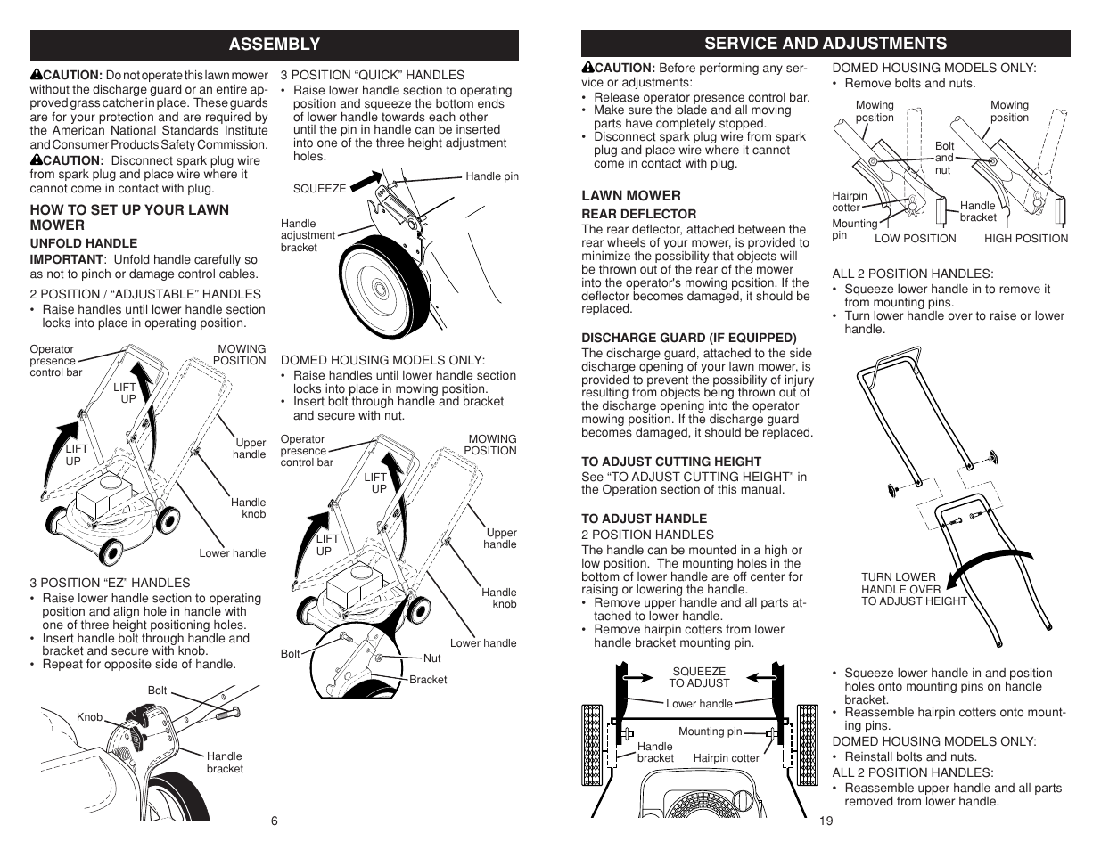 assembly  service and adjustments