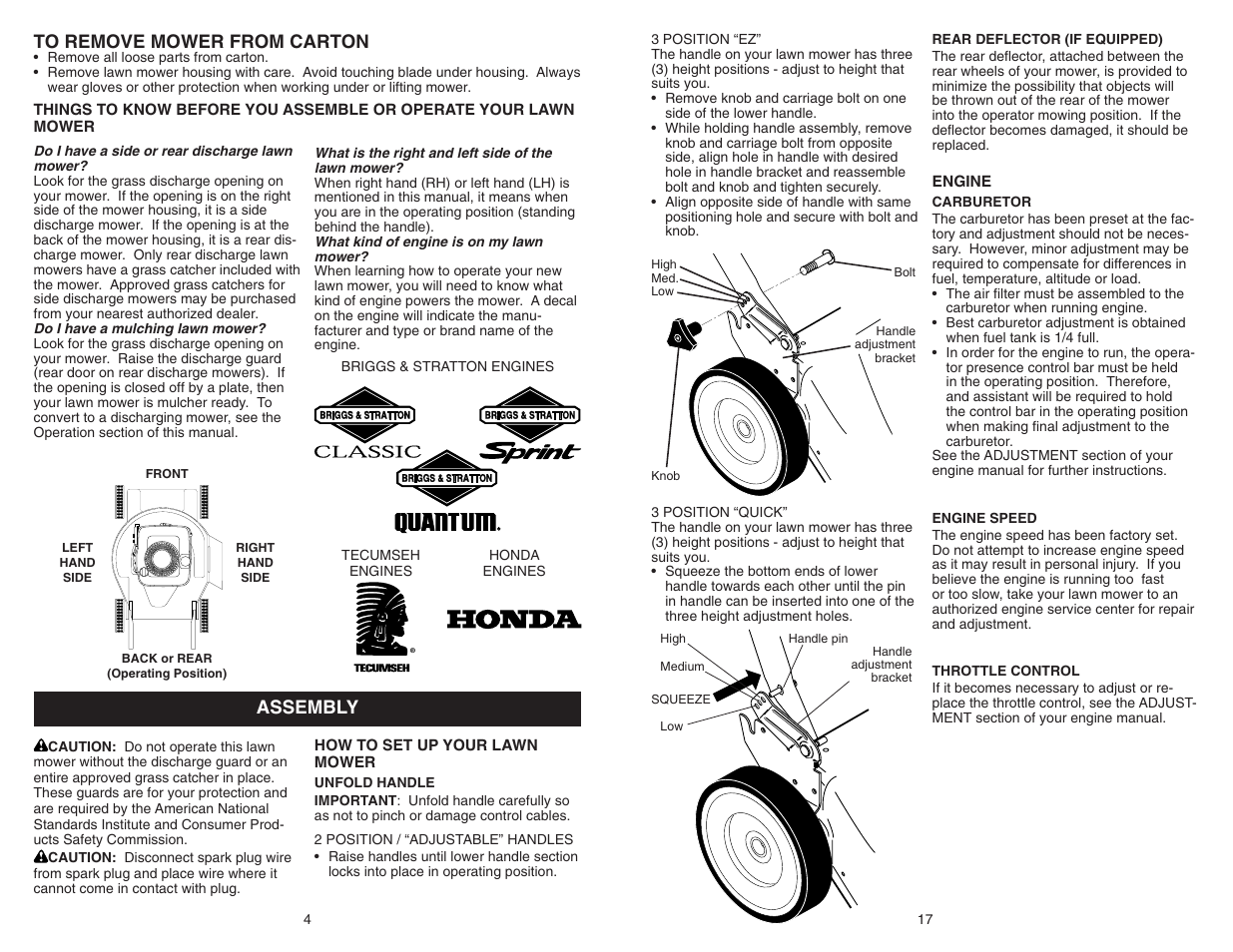 Assembly to remove mower from carton | Poulan Pro PR600N21RH LAWN MOWER  User Manual | Page