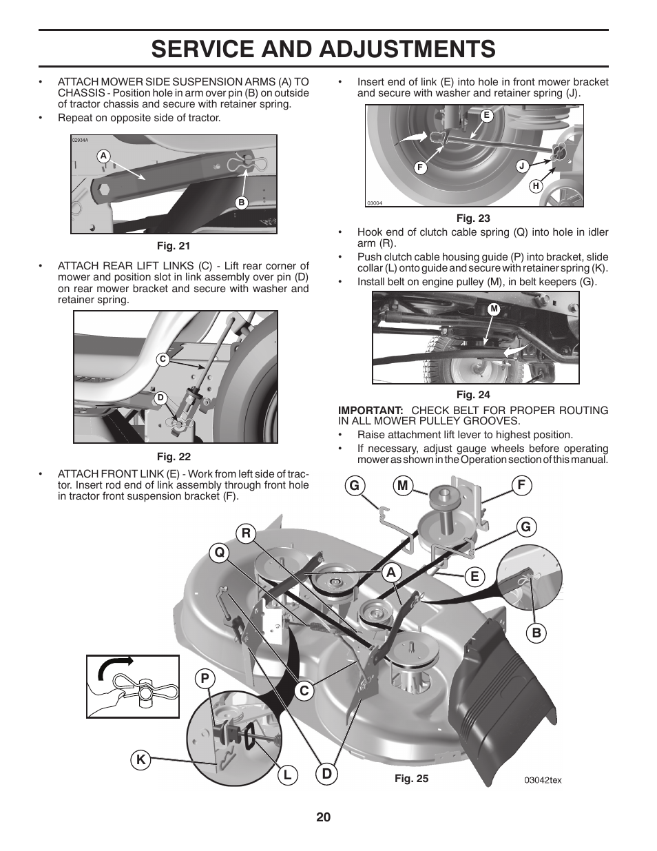 Service and adjustments | Poulan Pro PB175G42 LAWN TRACTOR User Manual |  Page 20 / 60