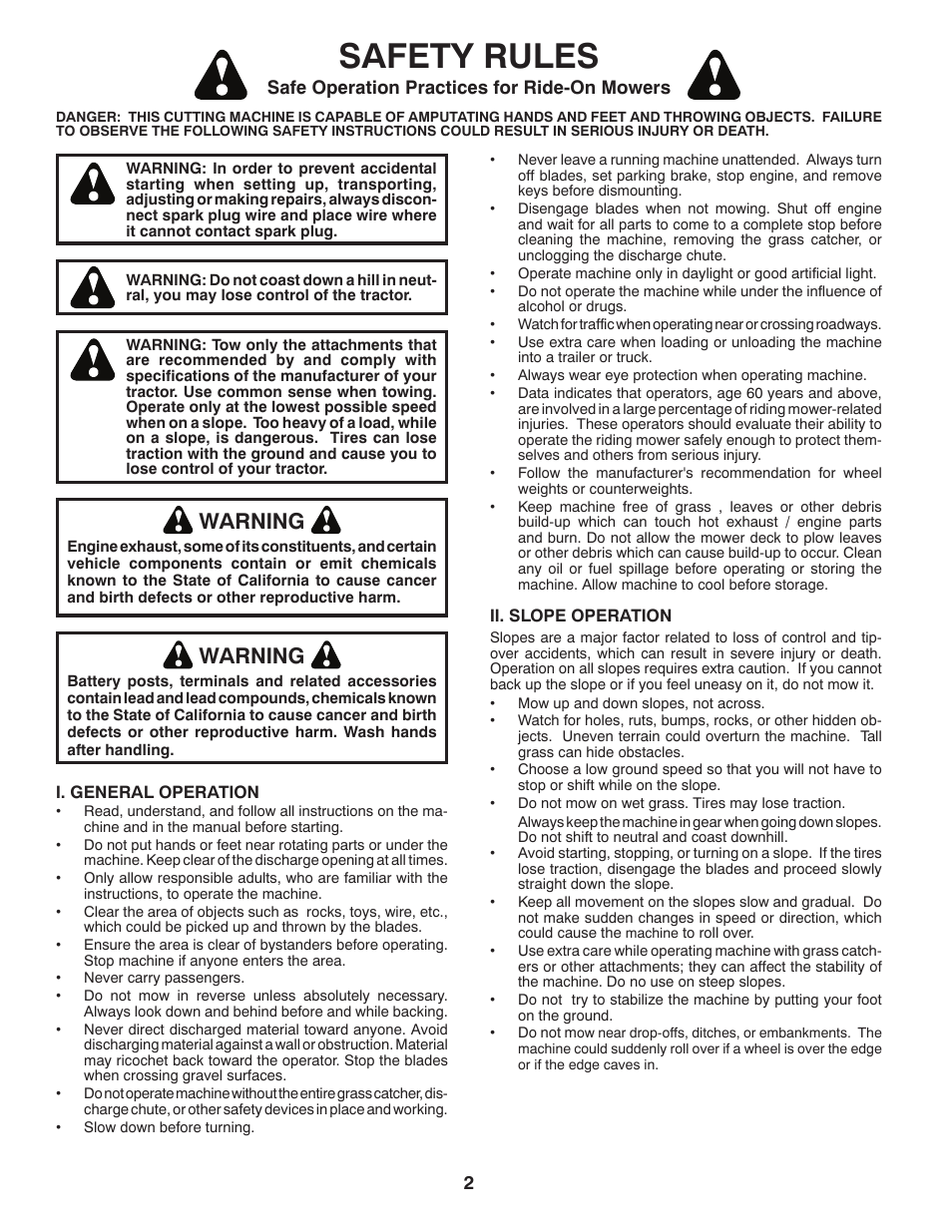 Safety rules, Warning, Safe operation practices for ride-on