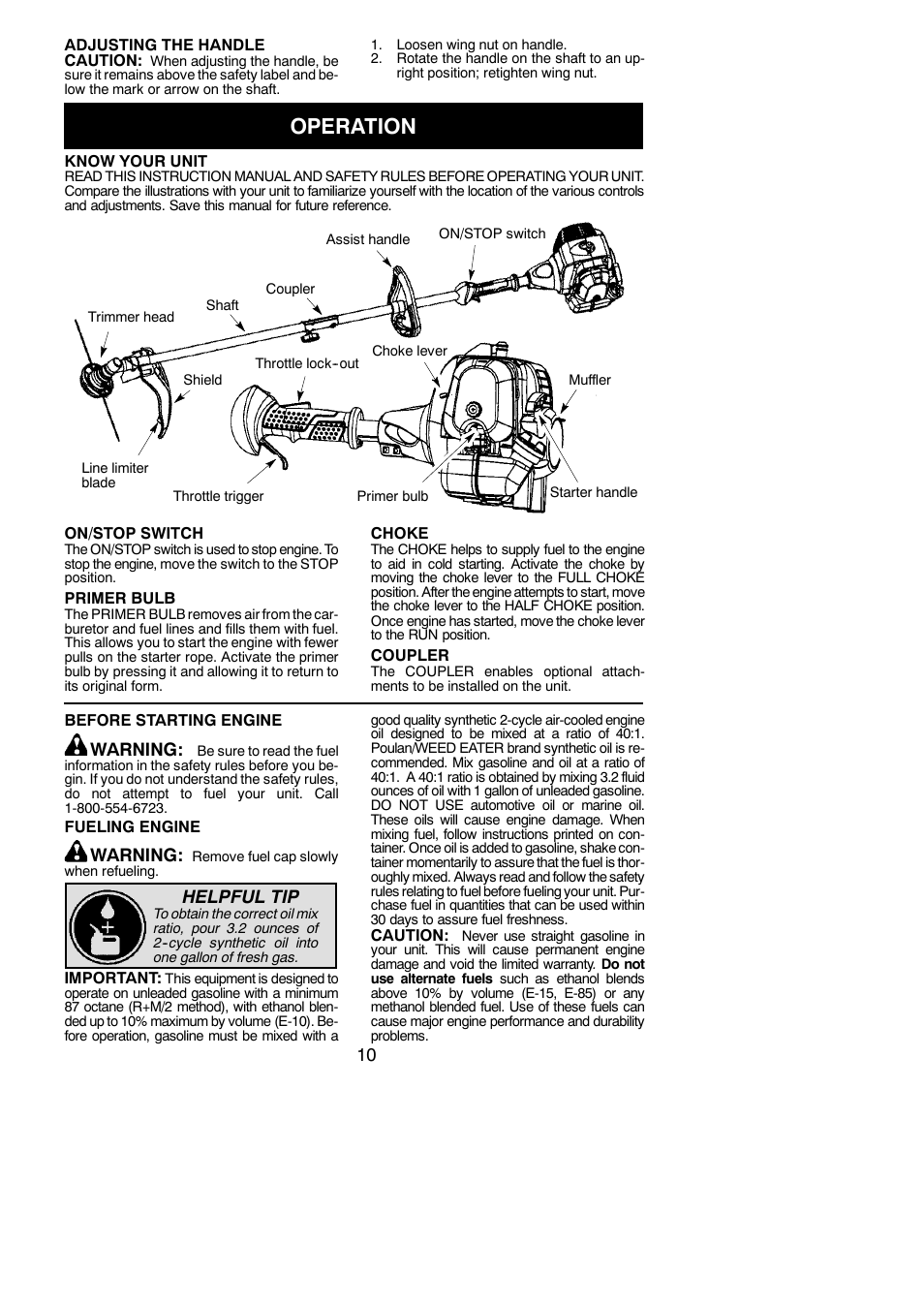 operation poulan pro pp130 user manual page 10 60 rh manualsdir com Weed Eater Parts Diagram Poulan Pro Weed Eater Gas Line Diagram