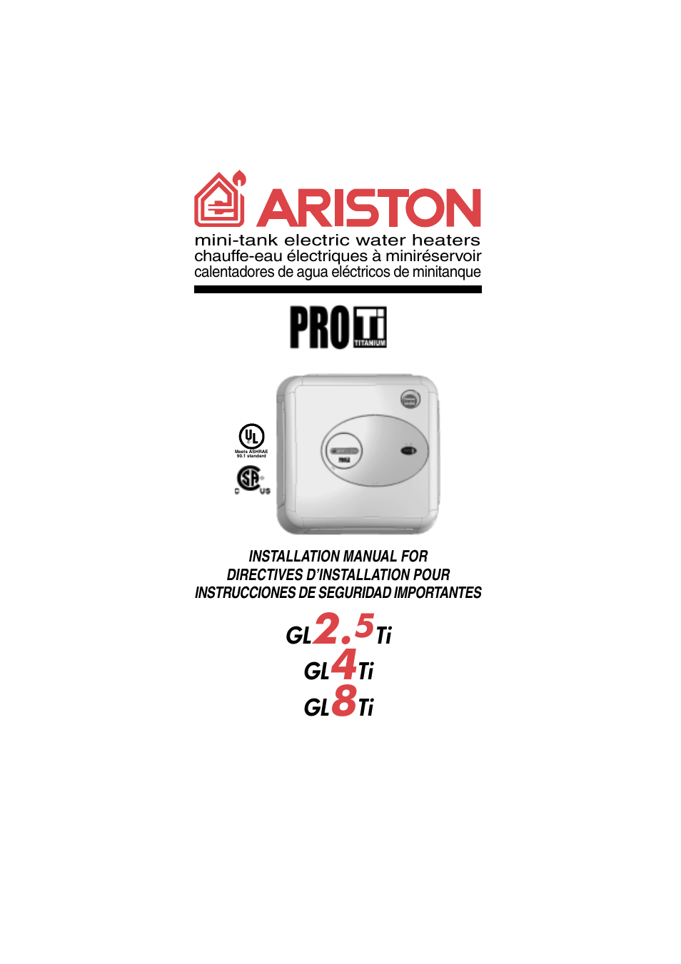 Ariston gl 4 ti user manual 13 pages also for gl 8 ti for Manuale ariston