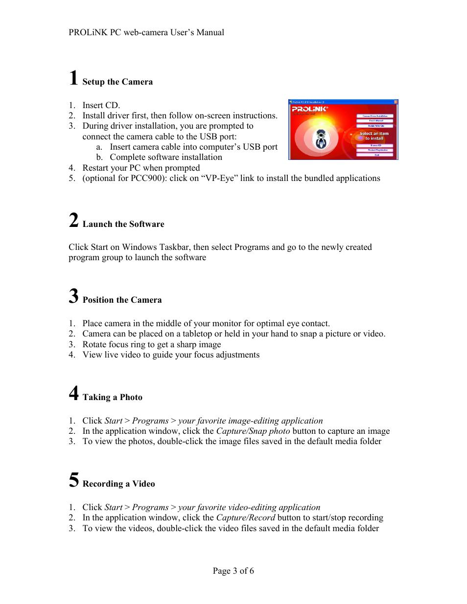 PROLiNK PCC900 PROLiNK PC camera User Manual | Page 3 / 6