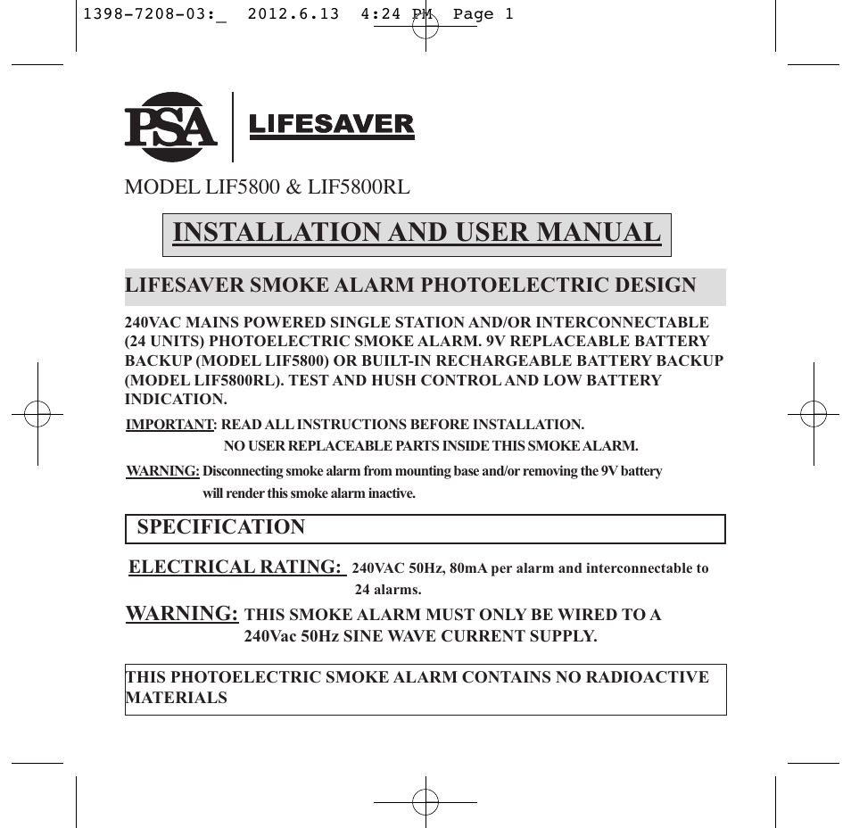 lifesaver smoke alarm instructions