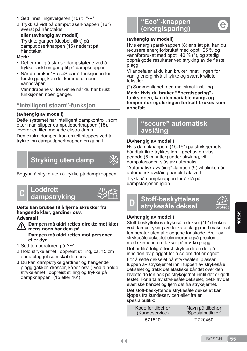 "b65ad8d0 Intelligent steam""-funksjon, Stryking uten damp, C. loddrett dampstryking –  Bosch TDS2250 Centro de planchado Sensixx B22L EAN 4242002794440 User Manual"