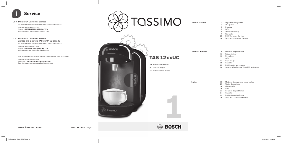 Tassimo Coffee Maker Instructions Bosch : Bosch TASSIMO T12 TAS1202 User Manual 30 pages Also for: TASSIMO T12 NOIR CAFE MULTIBOISSONS ...