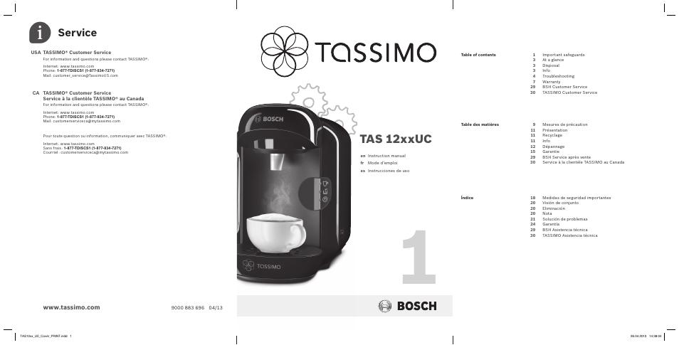 Bosch TASSIMO T12 TAS1202 User Manual | 30 pages ...