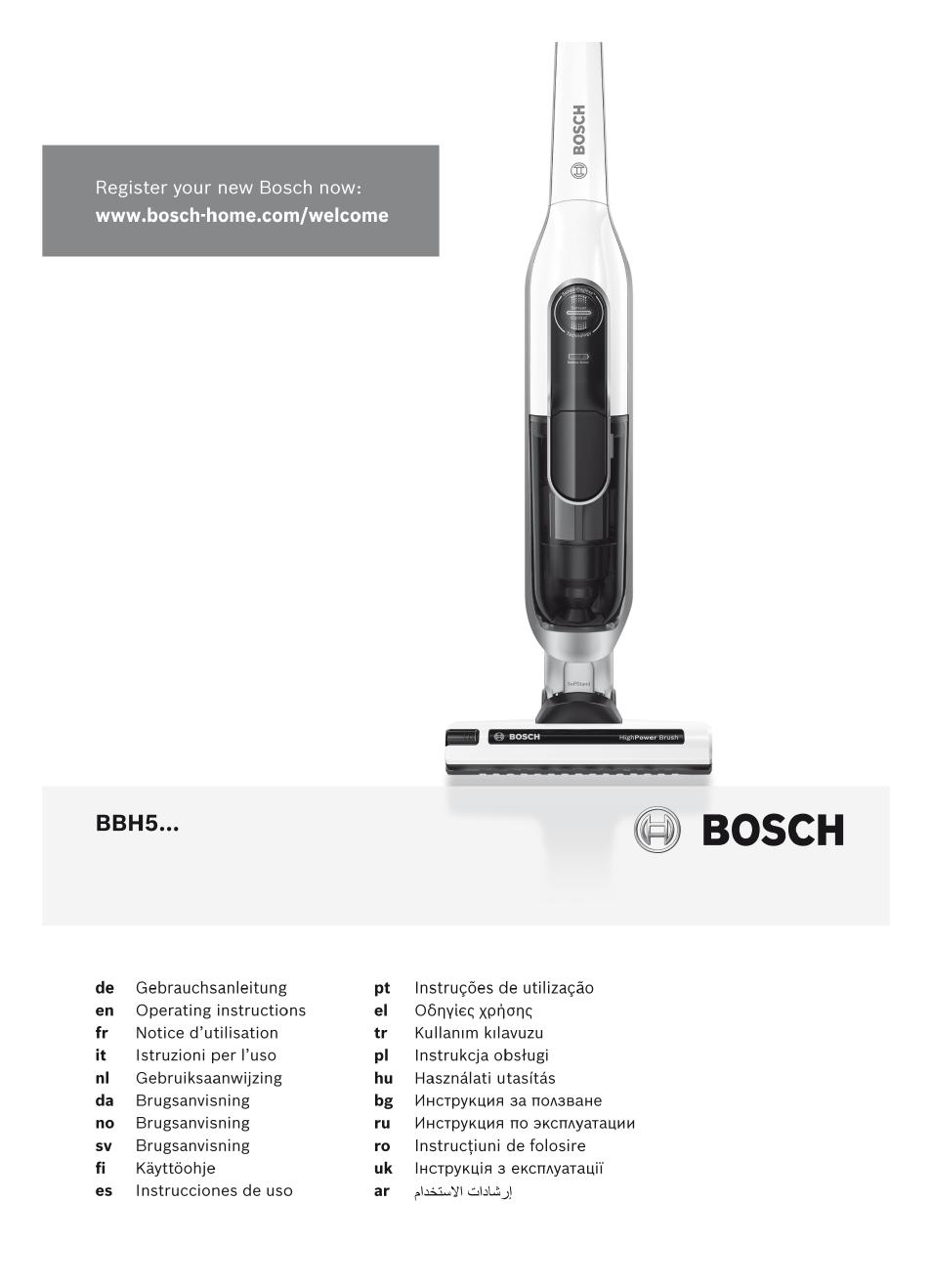 bosch lithiumpower 25 2v aspirateur balai sans fil rechargeable bbh52550 argent min ral user
