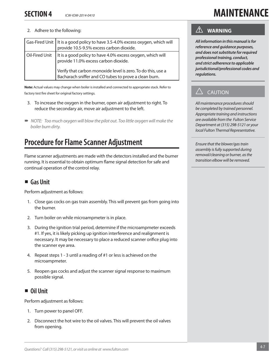 Maintenance, Procedure for flame scanner adjustment, Gas