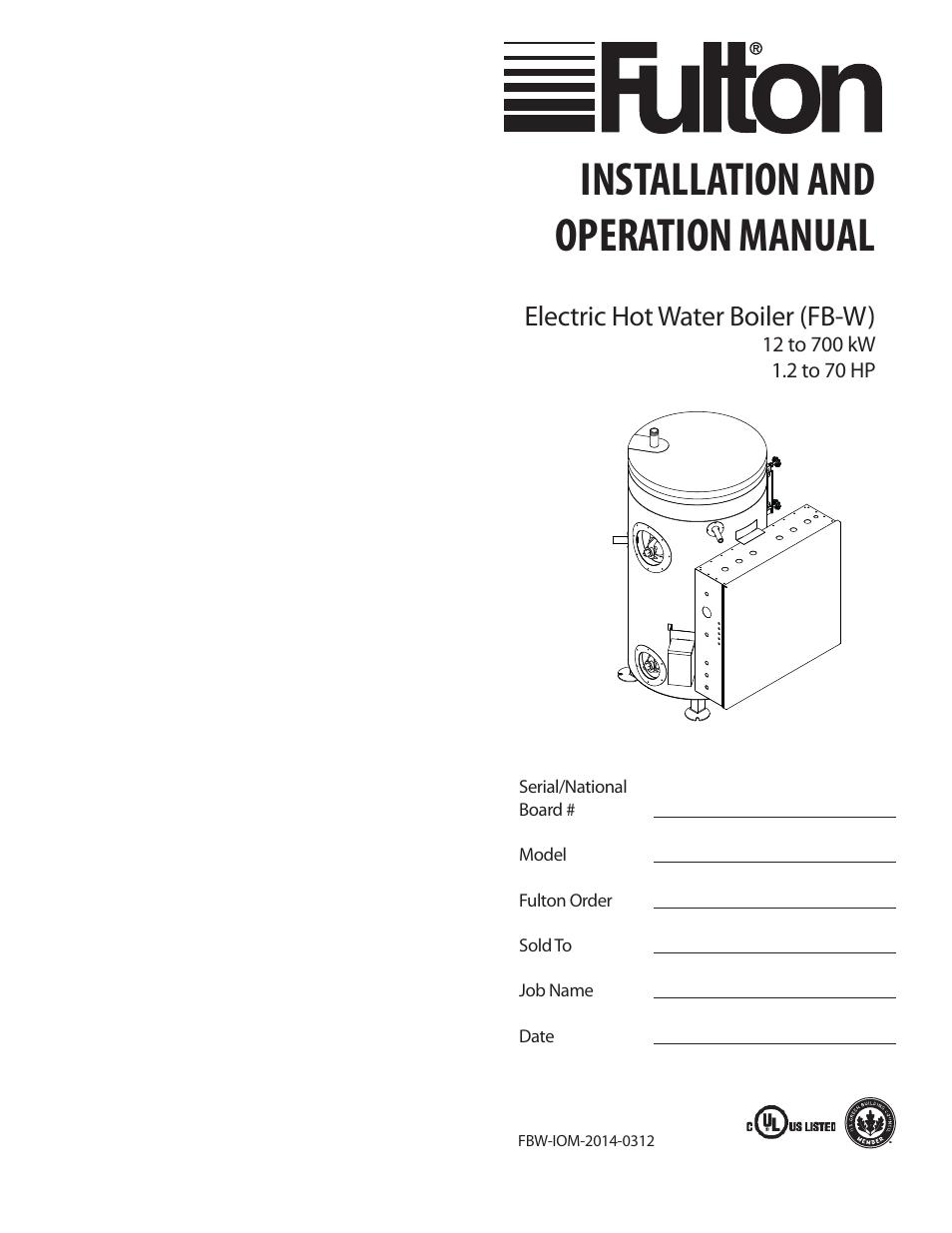 fulton electric fb w hot water boiler user manual 32 pages rh manualsdir com