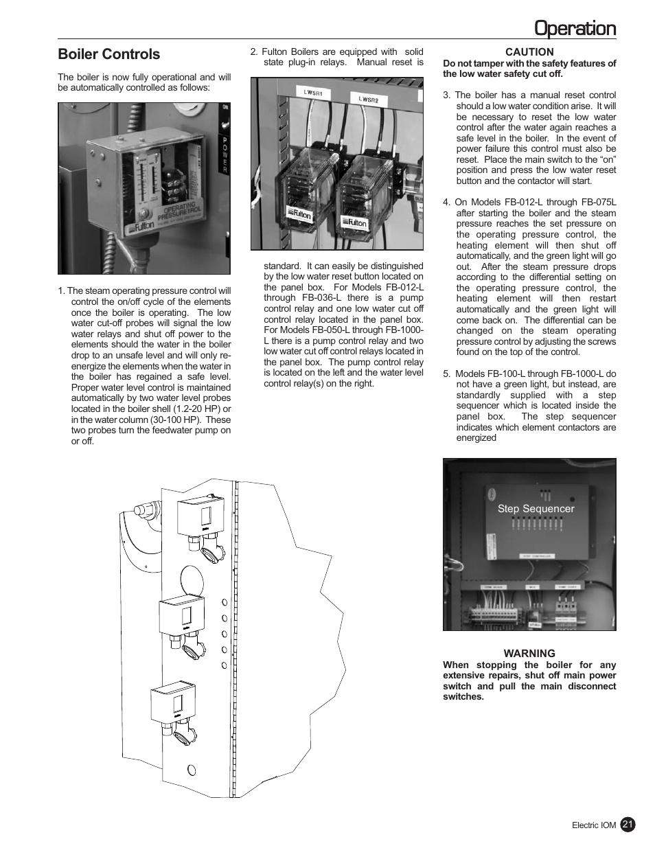 operation boiler controls fulton electric fb l steam boiler rh manualsdir com fulton electric steam boiler manual