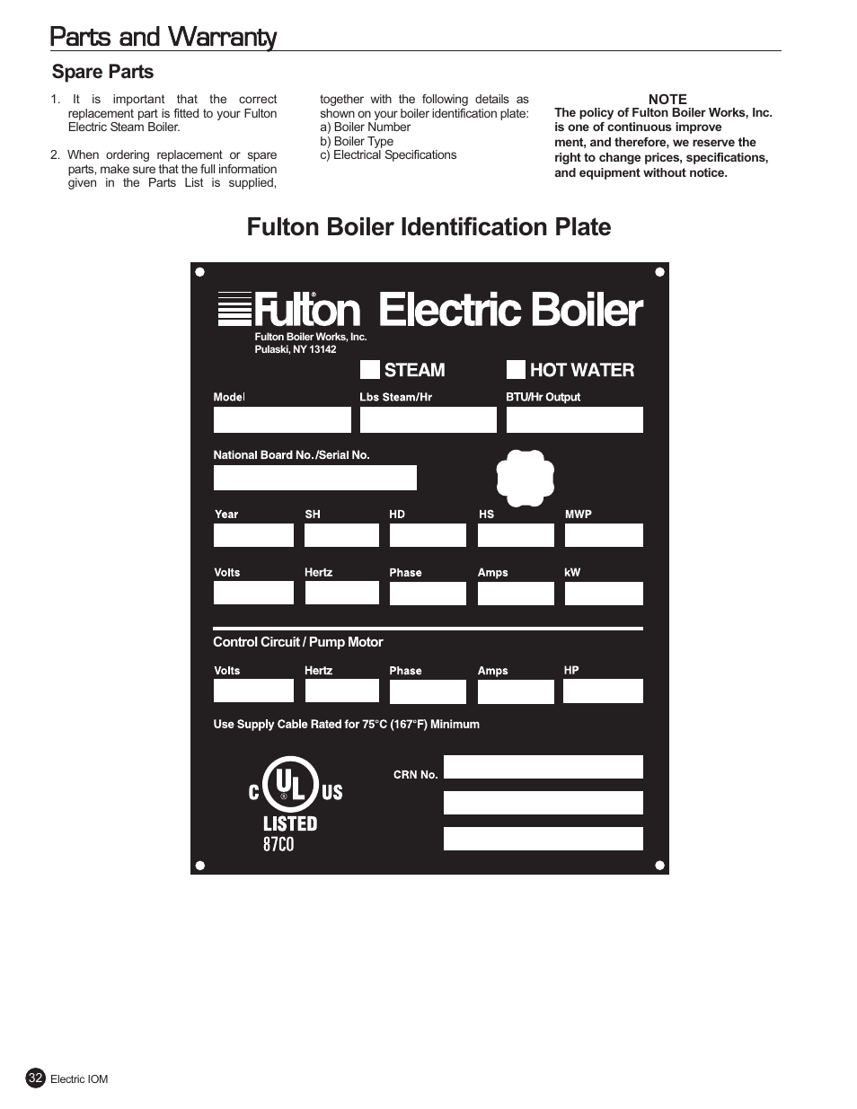 Parts And Warranty Fulton Boiler Identification Plate