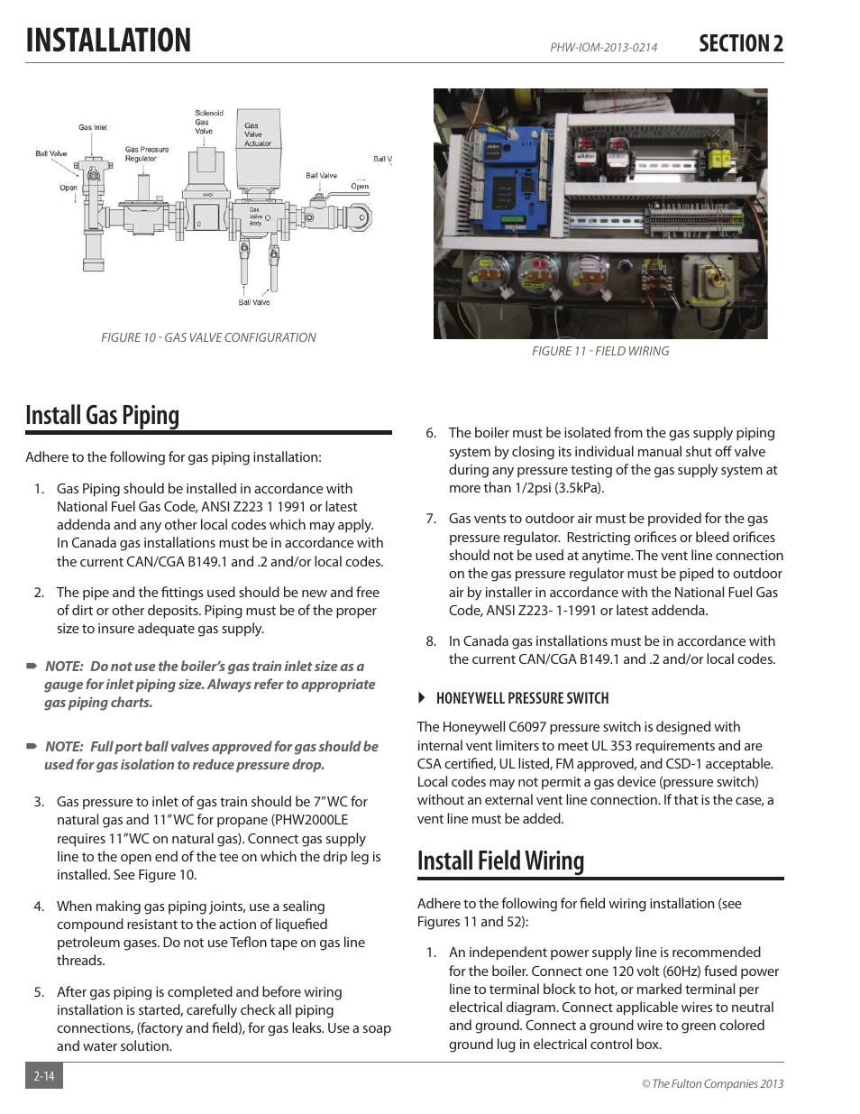 Installation, Install gas piping, Install field wiring