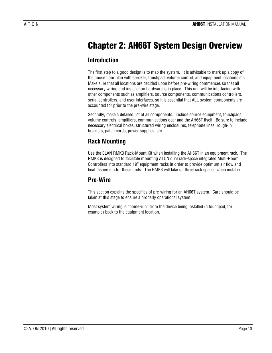 Chapter 2 Ah66t System Design Overview Introduction Rack Mounting Home Run Wiring Aton User Manual Page 11 90