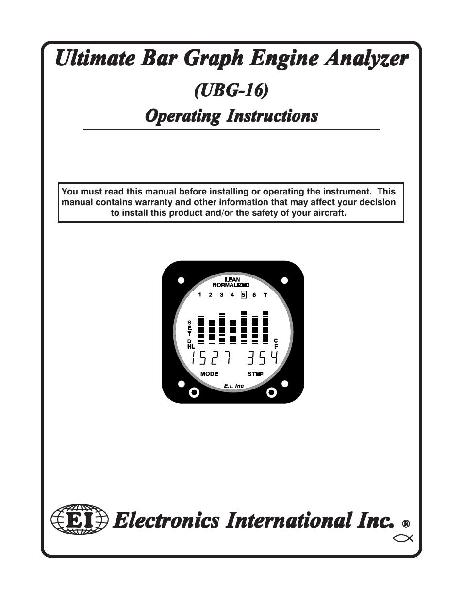Electronics International UBG-16 User Manual  31 pages