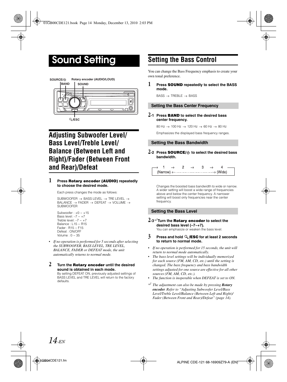 Alpine Car Audio Cde 121 Manual Wire Diagram Sound Setting The Bass Control User Page