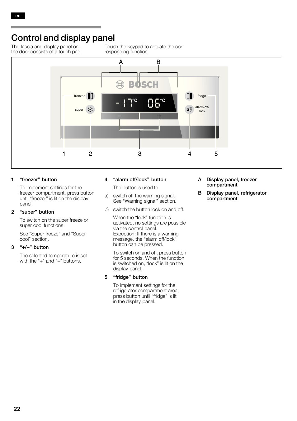 control and display panel bosch kan62v40 frigo congelatore side by rh manualsdir com bosch owner's manual bosch owners manual dishwasher