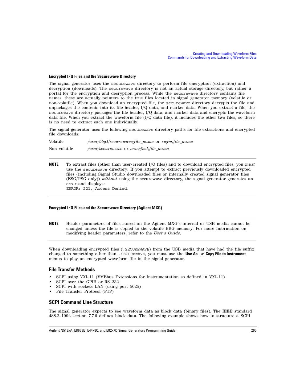 File transfer methods, Scpi command line structure   Agilent