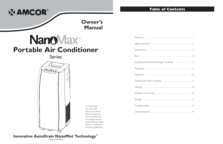 amcor nanomax portable air conditioner user manual