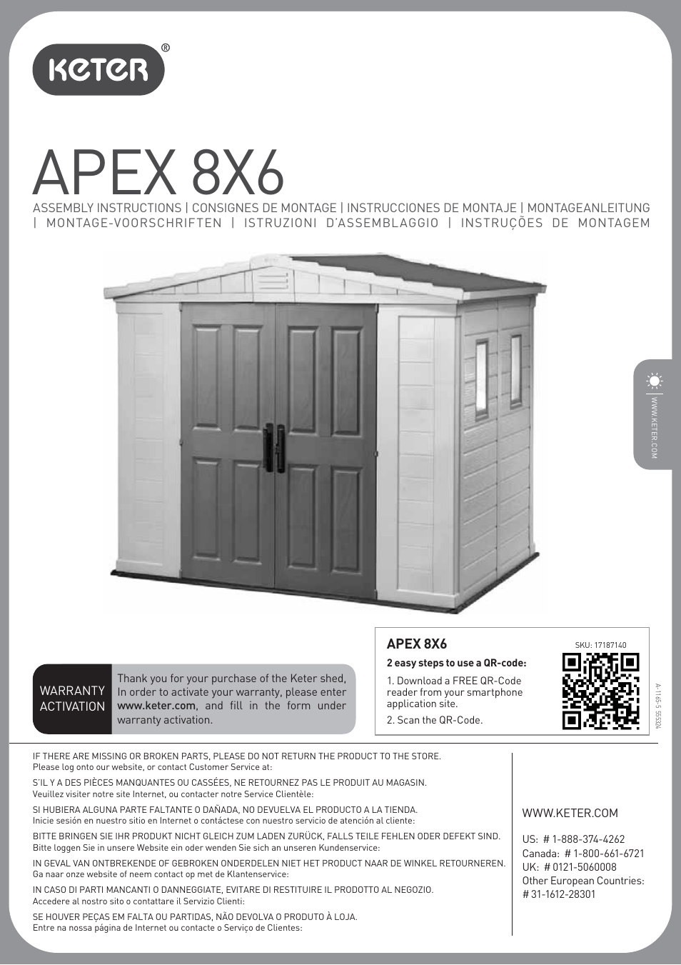 Keter Apex 8x6 User Manual 32 Pages