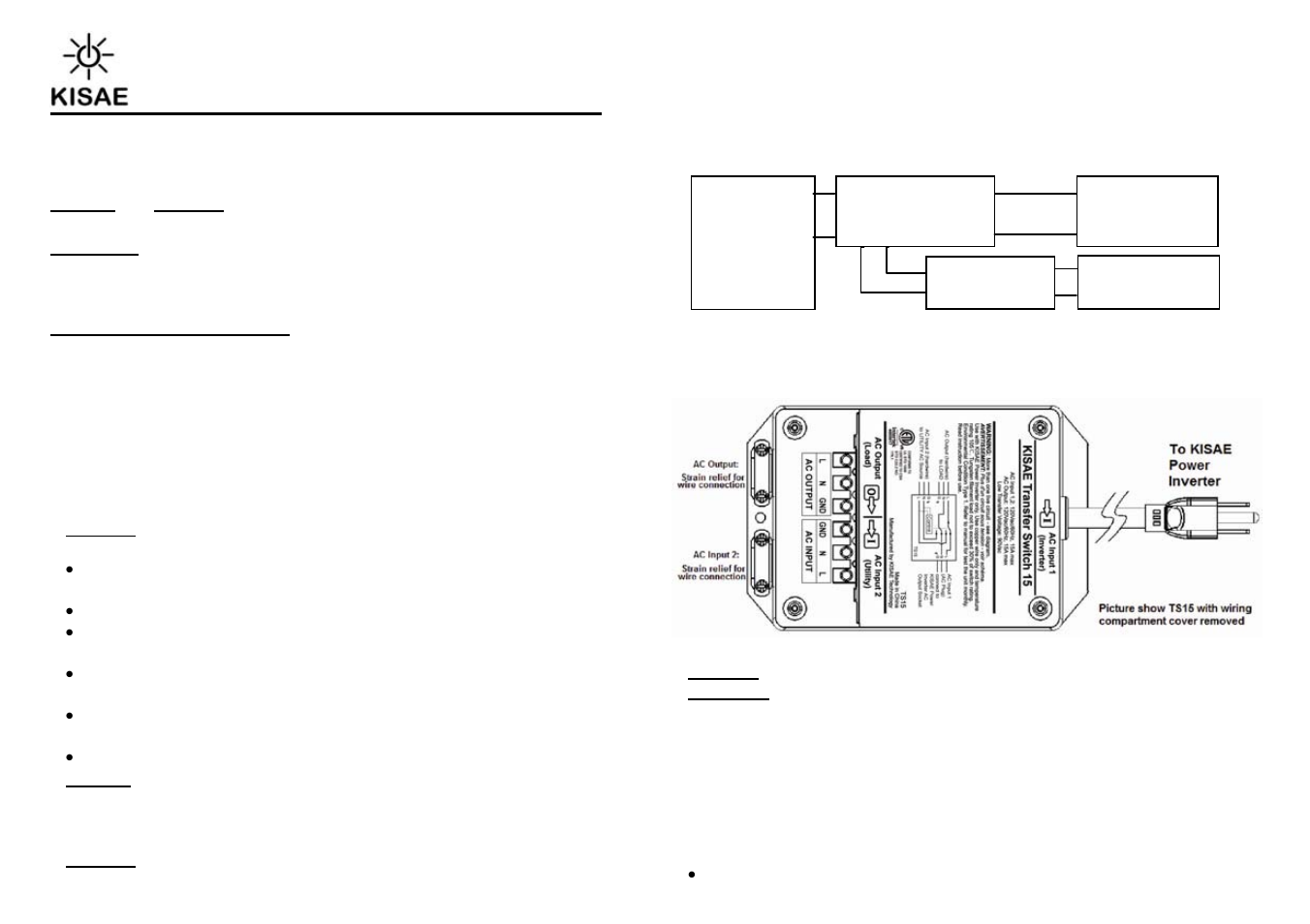 KISAE TS20 Transfer Switch User Manual | 2 pages | Also for: TS15 ...